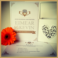 The clean and classic claddagh design, printed on iridescent paper.