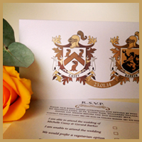 A traditional family crest invitation